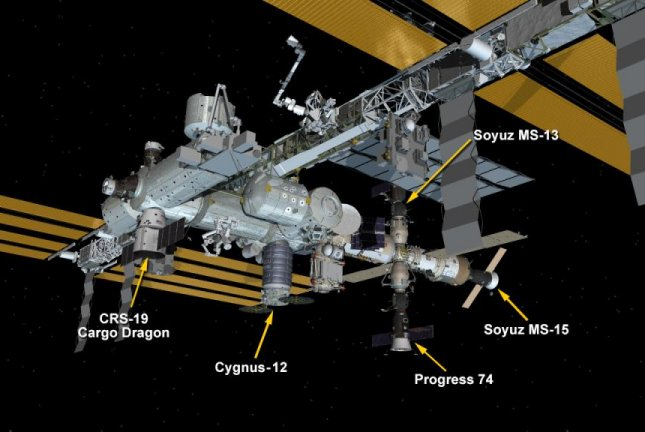 There are now five spacecraft parked on the International Space Station. Photo by NASA