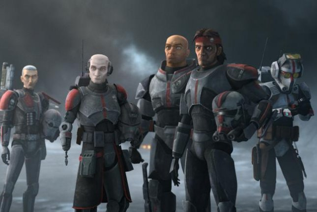 From left to right, Crosshair, Echo, Wrecker, Hunter and Tech are Clone Force 99 in Star Wars: The Bad Batch. Photo courtesy of Lucasfilm Ltd.