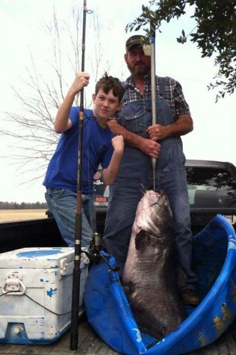 Twelve-year-old Louisiana boy catches 114-pound catfish. (Facebook)