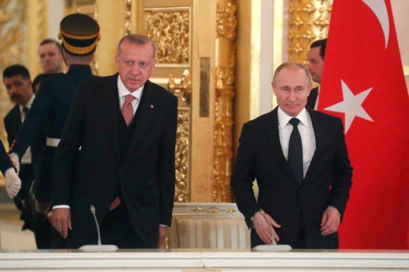 Turkish President Recep Tayyip Erdogan meets with Russian President Vladimir Putin Monday in Moscow, Russia. Photo by Maxim Shipenkov/EPA-EFE