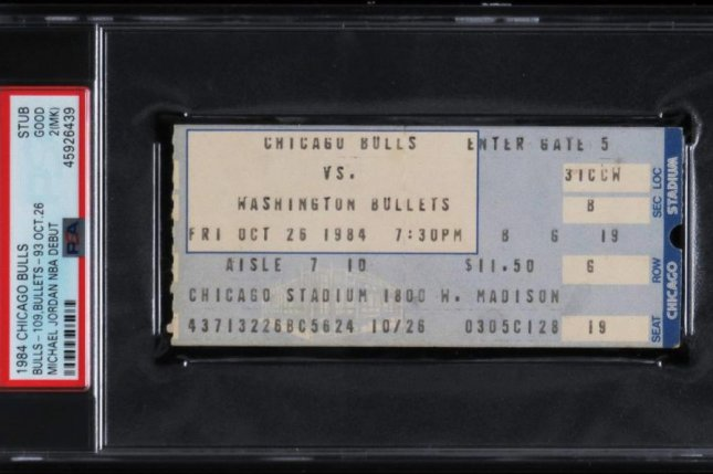 A ticket from Michael Jordan's NBA debut, which sold for 24,907.50 on Thursday, was the latest item to see a surge in price since ESPN's The Last Dance documentary series aired in April and March. Photo courtesy of Huggins & Scott