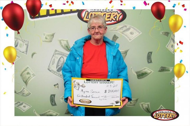 Myrna Strain of Genoa, Neb., collected a $200,000 prize from a scratch-off lottery ticket after winning a $5,000 prize from another game in 2019. Photo courtesy of the Nebraska Lottery