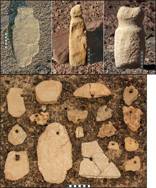 A selection of the stone artifacts found at some of the cult sites, including three of the phallic sculptures. Photo by the Israeli Prehistoric Society.
