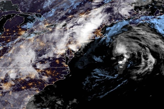 The remnants of Claudette seen off the U.S. East Coast on Monday. Image courtesy NOAA/NHC