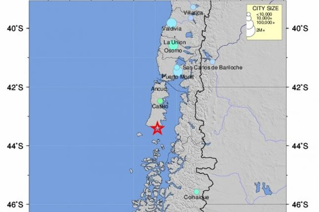 A handout photo made available by the US Geological Survey (USGS) on 25 December 2016 of a shakemap showing the epicenter (marked with a star) of a 7.7 magnitude earthquake detected some 225 kilometers off the coast of Chile at a depth of some 15 kilometers. Photo by European Pressphoto Agency/USGS