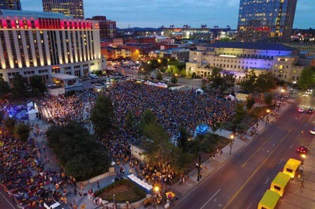 Predators fans celebrate outside the arena as Nashville earned it's first trip to the Stanley Cup Finals with a 6-3 victory over Anaheim on Monday night. Photo courtesy Nashville Predators/Twitter
