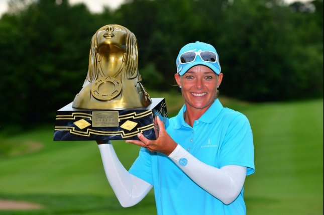 Katherine Kirk held off Ashleigh Buhai of South Africa with a 2-under-par 70 in the final round and won the Thornberry Creek LPGA Classic by one shot in Oneida, Wis. Photo courtesy of Thornberry Creek LPGA/Twitter