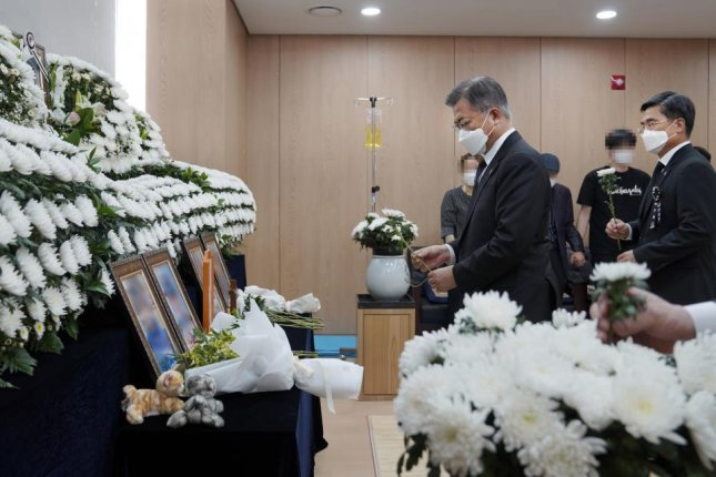 South Korean President Moon Jae-in on Monday called for a task force to overhaul the country's military culture in the wake of the sexual assault and suicide of Air Force sergeant. Moon visited the funeral home and met with the woman's parents over the weekend. Photo by Yonhap