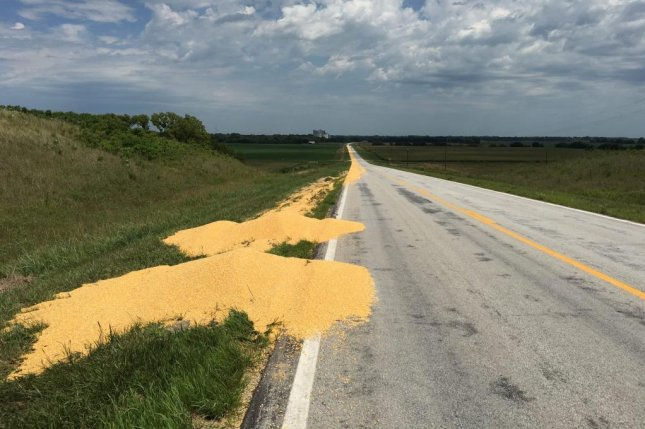 Truck driver Darren Walp allegedly spread nearly 1,000 bushels of corn across a quarter mile of Nebraska highway after he was fired in a text message. Photo by the Gage County Sheriff's Office/Facebook