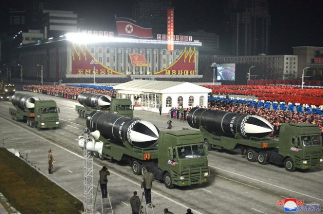 North Korea unveiled new weapons at a military parade held late Thursday, including a submarine-launched ballistic missile, the Pukguksong-5. Photo by KCNA