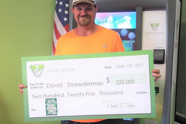 A Virginia man won a $225,000 lottery prize after instructing a store clerk to choose a scratch-off ticket for him. Photo courtesy of the Virginia Lottery