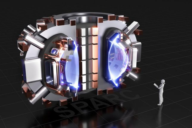 An artistic rendering shows what the SPARC reactor will look like once its construction is completed. Photo byCFS/MIT-PSFC, CAD Rendering by T. Henderson