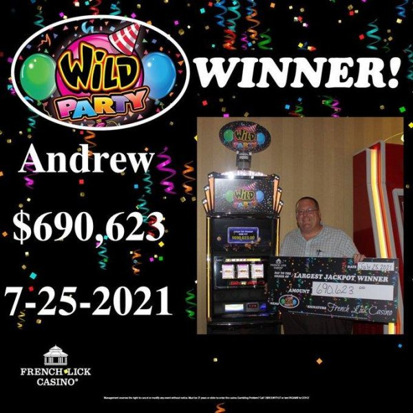 A man named Andrew placed a $1 bet at a Wild Party slot machine at theFrench Lick Casino in Indiana and scored a $690,623 jackpot, the largest in the casino's history. Photo courtesy of French Lick Casino