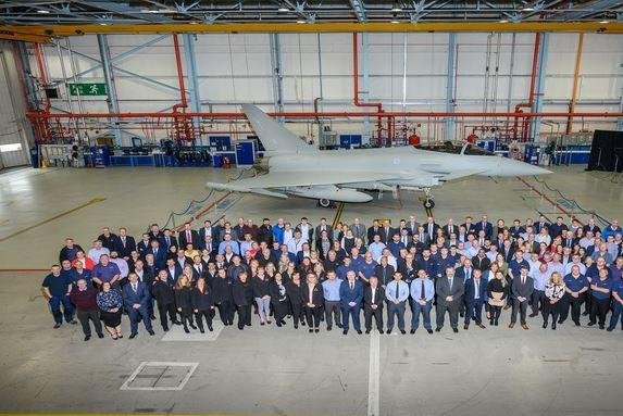 BAE Systems has completed the 160-plane Eurofighter Typhoon order for Britain's Royal Air Force, delivering the final aircraft Friday in Warton, England. Photo courtesy of BAE Systems