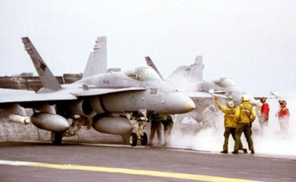 U.S. Marine Corps F/A-18 Hornet fighter planes ended their final carrier-based deployment last week aboard the USS Nimitz. Photo courtesy of Defense Department