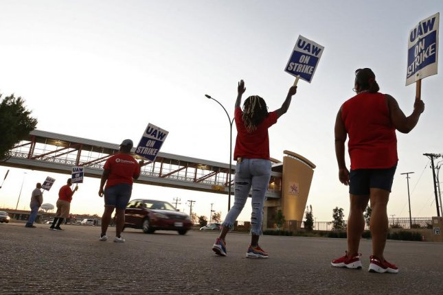 Members of the United Auto Workers union picket outside the General Motors plant in Arlington, Texas, on Tuesday. Photo by Larry W. Smith/EPA-EFE