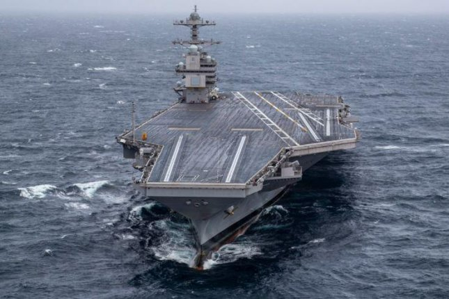The aircraft carrier USS Gerald R. Ford, pictured in 2019, completed its post-delivery test and trials, the Naval Sea Systems Command announced on Wednesday. Photo by MCS3 Connor Loessin/U.S. Navy