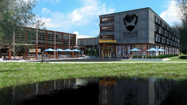 Scotland-based BrewDog brewery has crowdfunded a craft-beer themed hotel on site at its newly opened Columbus, Ohio location. BrewDog said the hotel will offer deluxe beer-infused breakfasts lunches and dinners, with beers matched to every course. Photo by BrewDog/Indiegogo