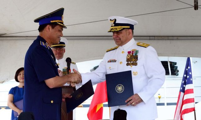 U.S. Coast Guard Rear Adm. Michael J. Haycock during the handover ceremony of a former Coast Guard Cutter to the Vietnamese Cast Guard. United States Coast Guard photo