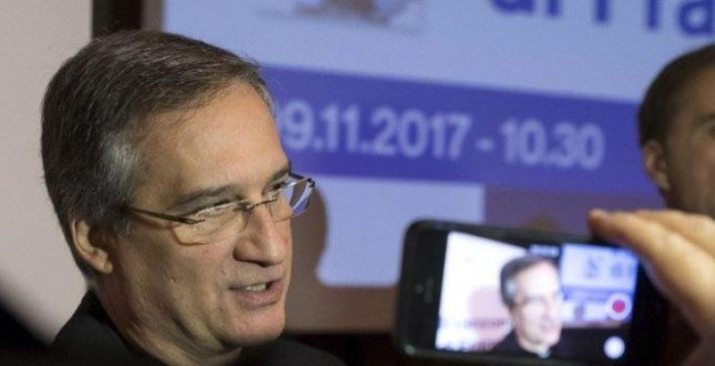 Vatican communications chief Dario Vigano resigned Wednesday, citing controversies surrounding his work. Last week, his office was criticized for distributing a doctored letter about former Pope Benedict XVI. Photo courtesy Vatican Media
