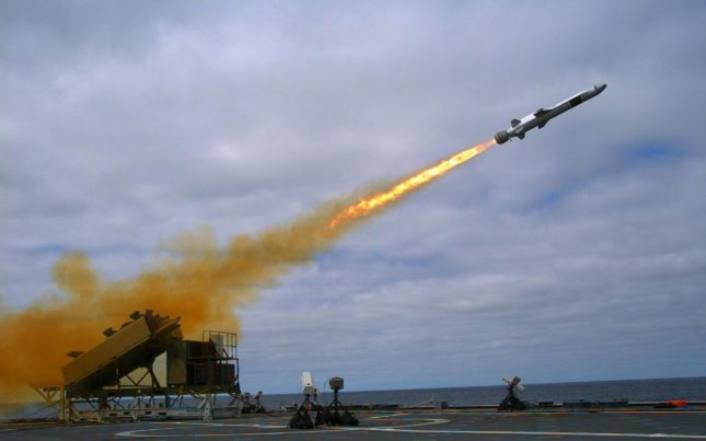 A Kongsberg Naval Strike Missile is launched from U.S. Navy littoral combat ship USS Coronado during testing in 2014. U.S. Navy photo by Mass Communication Specialist 2nd Class Zachary D. Bell