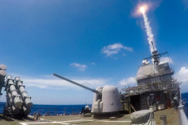 An SM-2 telemetry surface to air missile is launched from the Ticonderoga-class guided-missile cruiser USS Shiloh while conducting a live-fire exercise in March. Photo by Ryre Arciaga/U.S. Navy