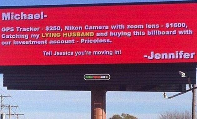 This mock billboard message from a woman to her cheating husband was really just a publicity stunt by a company which owns several Greensboro, N.C. restaurants. (Screenshot via Twitter)