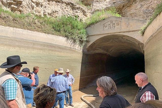 Water was shut off to 100,00 acres of farmland in Nebraska and Wyoming after an irrigation tunnel collapsed last week. Photo courtesy of Wyoming Gov. Mark Gordon/Facebook