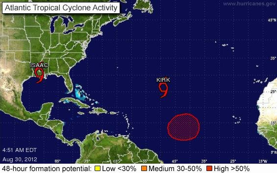 At 5 a.m. EDT, Tropical Storm Kirk was about 1,065 miles northeast of the northern Leeward Islands and about 1,505 miles west-southwest of the Azores. It was moving northwest at 10 mph. (courtesy National Weather Service/National Hurricane Center)