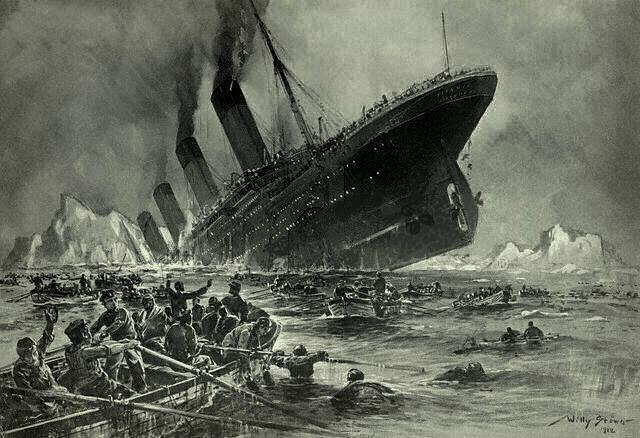 Der Untergang der Titanic, a 1912 engraving by Willy Stöwer, depicts Titanic's final moments.