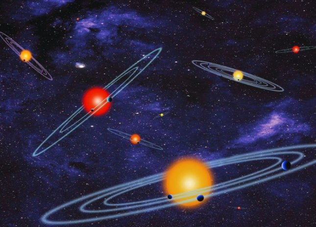 Artist's concept depicting multiple-transiting planet systems, which are stars with more than one planet. The planets eclipse or transit their host star from the vantage point of the observer. This angle is called edge-on. Credit: NASA