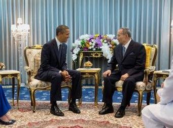 King Bhumibol Adulyadej (R) the king of Thailand, with President Barack Obama in 2012. The king, 88, was hospitalized in Bangkok over the weekend, the Bureau of the Royal Household calling his condition not stable. Photo by Pete Souza/White House/UPI