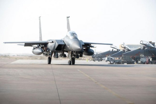 An unknown number of U.S. Air Force F-15E Strike Eagle fighter planes arrived at Al Dhafra Air Base, United Arab Emirates last week, the Air Force announced on Wednesday. Photo by SSgt. Anna-Kay Ellis/U.S. Air Force