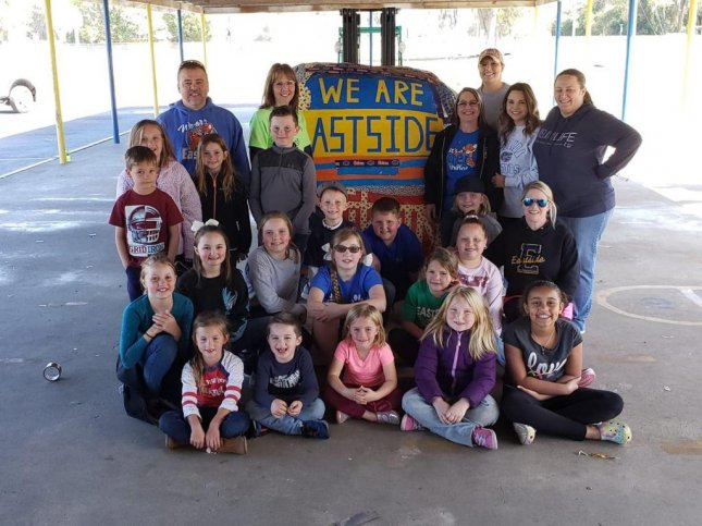Students at a Florida elementary school assembled a tape ball measuring 17 feet, 11 inches in circumference and weighing 2,268 pounds. Photo courtesy of Eastside Elementary School