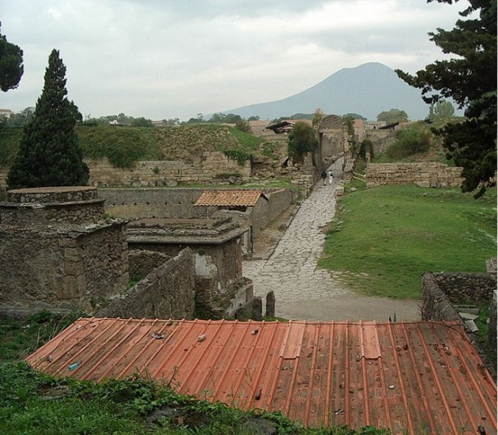 Pompeii with Vesuvius in the background. Credit: Soren Bleikertz, Wikimedia Creative Commons