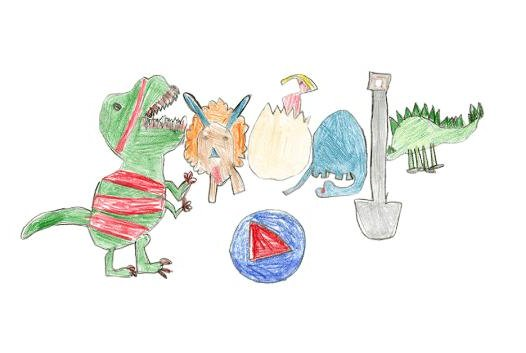 Sarah Gomez-Lane's drawing of a group of dinosaurs won Google's 2018 Doodle for Google competition in the United States. Image courtesy of Google