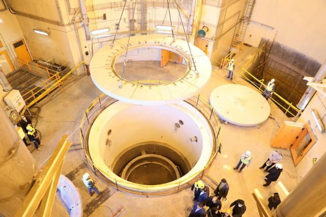 Officials give a tour Monday at a nuclear water reactor in Arak, Iran. Photo courtesy Atomic Energy Organization of Iran/EPA-EFE