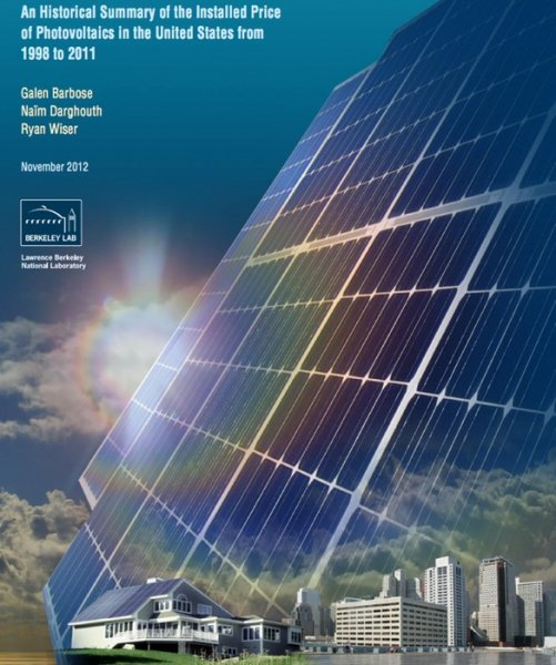Cover of the solar power cost-tracking report. Credit: DOE Lawrence Berkeley National Laboratory