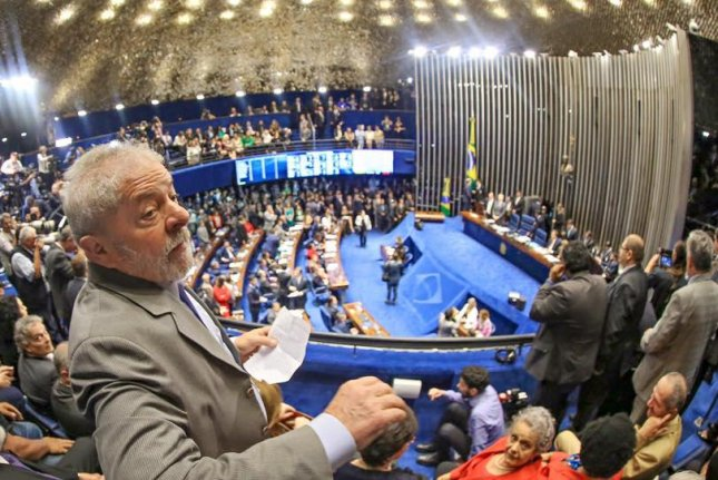 Former president of Brazil Luiz Inacio Lula da Silva, seen here in late August within Brazil's Federal Senate chambers, faces an additional corruption charge related to the Petrobras bribery scandal on accusations he helped a relative of his ex-wife win a construction contract for the Oderbrecht construction company in the west African country of Angola. Photo courtesy of Luiz Inacio Lula da Silva