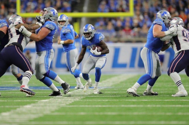 Rookie Kerryon Johnson (33) was a junior in an Alabama high school the last time the Detroit Lions had a 100-yard rusher in a game. Photo courtesy of Detroit Lions/Twitter