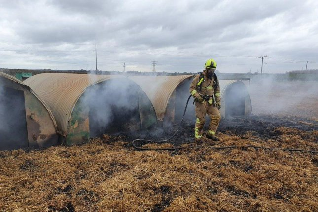 A fire at a farm in Britain was started by pieces of a pedometer that passed through a pig's digestive system. Photo courtesy of North Yorkshire Fire and Rescue Service