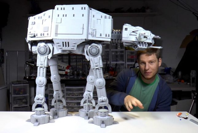 YouTuber Charlie spent 26 hours building this Star Wars AT-AT out of Legos. BrickVault/YouTube video screenshot