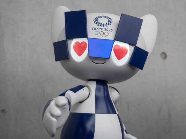 Miraitowa, a robot version of the 2020 Olympics mascot developed by Toyota, will welcome visitors and athletes to the Games next year. It was unveiled on Monday by Olympics organizers. Photo by Thomas Maresca/UPI
