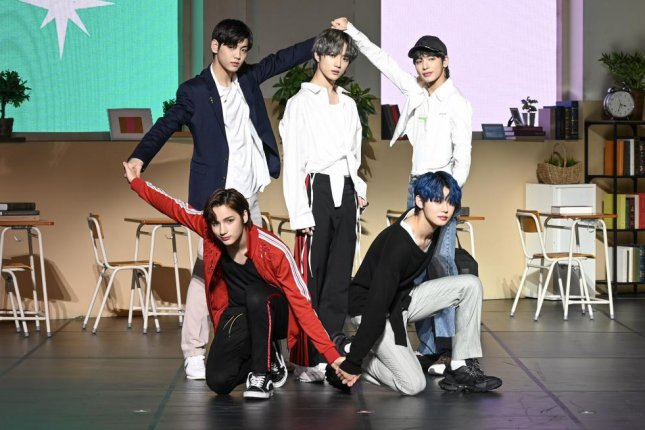 K-pop boy band Tomorrow X Together (TXT) introduced their first full-length album, The Dream Chapter: Magic at a media event in Seoul on Monday. The band was founded by Big Hit Entertainment, the South Korean label responsible for superstars BTS. Photo by Thomas Maresca/UPI
