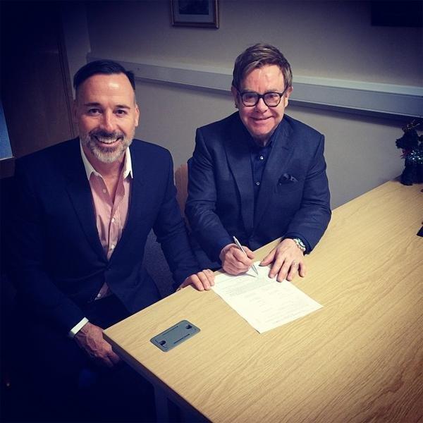 Elton John and David Furnish. (Elton John/Instagram.)