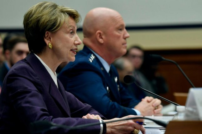Air Force Secretary Barbara Barrett, L, testifies before Congress on March 4. The Air Force moved 23 units or organizations to the U.S. Space Force on Wednesday. Photo by Wayne Clark/U.S. Air Force