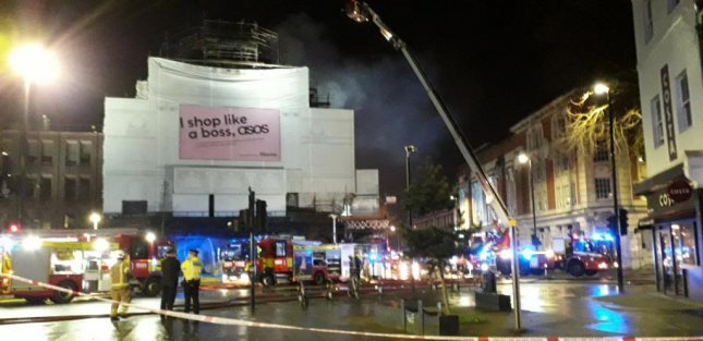Some 60 firefighters worked to contain a fire at the iconic Koko music venue in London. Photo courtesy of London Fire Brigade/Twitter