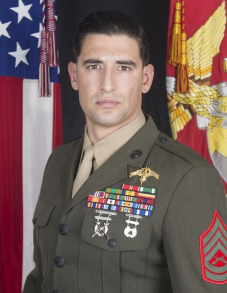 Gunnery Sgt. Diego D. Pongo, a critical skills operator from Simi Valley, Calif., was killed during a mission to eliminate an ISIS stronghold in a mountainous area of north central Iraq. Photo courtesy of Marine Forces, Special Operations Command