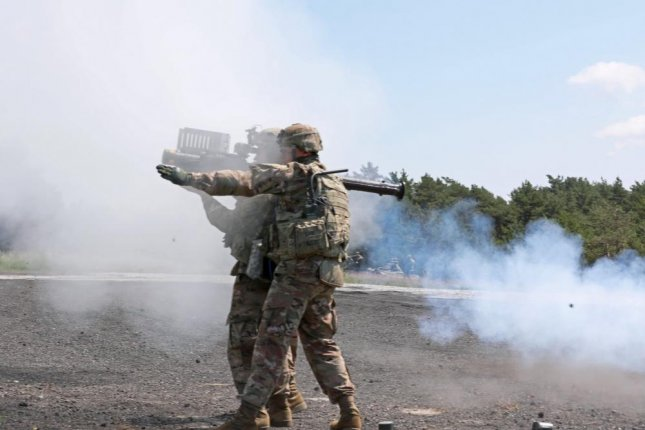 U.S. Army Soldiers from C Battery, 1st Battalion, 174th Air Defense Artillery Regiment, fire a FIM-92 Stinger missile system as part of Tobruq Legacy 2019 in Utska, Poland. Photo by Sgt. Kyle Larsen