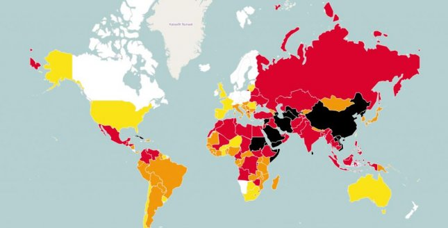 Color-coded performance by countries in the 2015 World Press Freedom Index (white best, red worse, black worst). Image courtesy of Reporters Without Borders